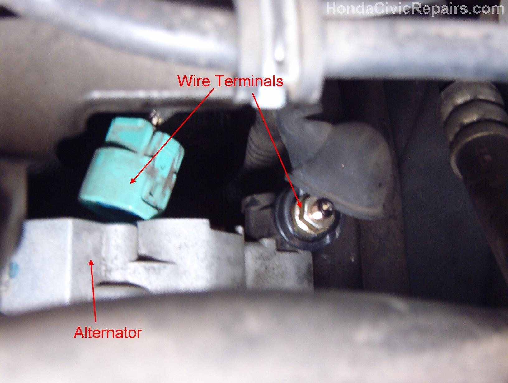 Alternator wire connections from top view (Honda Civic EX 1998)